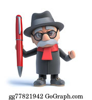 Geriatrics - 3d Old Man Has A Pen