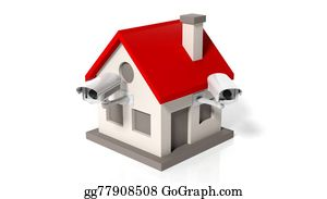 House-Alarm-Concept-Icon - House Model With Surveillance Cameras Isolated On White Background