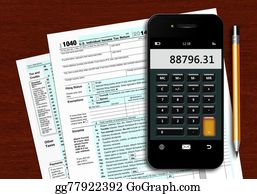 Tax-Return - U.s. Individual Income Tax Return Form 1040 With Phone Calculato