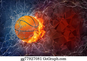 Flaming-Basketball - Basketball Ball In Fire And Water