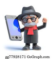 Geriatrics - 3d Old Man Has A Smartphone
