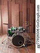 Drum-Set - Drums On Wooden Background