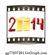 2014-Happy-New-Year-Box - Abstract 3d Illustration Of Text 2014 With Present Box. The Film Strip