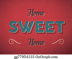 1960s - Home Sweet Home Sign In Retro Vintage Style