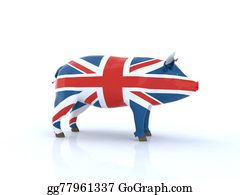 Butchers-Meat - 3d Pork English Flag Illustration