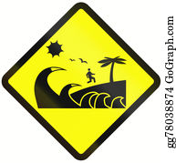 A-Palm-Tree-Sign-In-Yellow-And-Black - Tsunami Danger Zone In Indonesia
