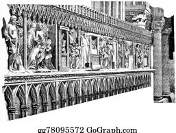 Choir - The Stalls Of The Choir, Vintage Engraving.