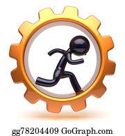 Hard-Work - Man Character Running Inside Golden Gearwheel Hard Work