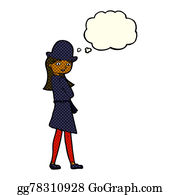 Private-Investigator - Cartoon Female Spy With Thought Bubble