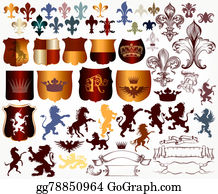 Royal-Lion - Vector Set Of Luxury Royal Vintage Elements For Your Heraldic Design