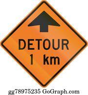 Roadworks - Detour 1 Km In Canada