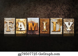 Aunt - Family Letterpress Concept On Dark Background