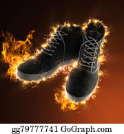 Flaming-Basketball - Vintage Black Shoes In Fire