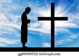 Priest - Silhouette Of Priest And Cross