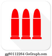 Long-Gun - Ammunition Red Flat Icon With Long Shadow On White Background
