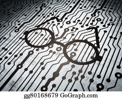 Computer-Nerd - Science Concept: Circuit Board With Glasses