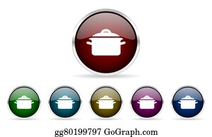 Dinner-Icons - Cook Colorful Glossy Circle Web Icons Set