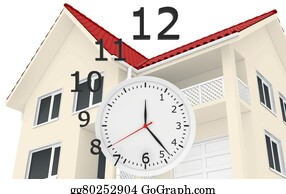 House-Alarm-Concept-Icon - The House With Red Roof And Clock Numbers Flying. Leaving Time Sale Of Real Estate