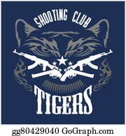Shooting-Range - Shooting Club - Emblem With Crossed Guns And Tiger Head.