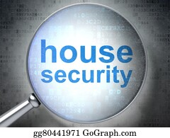 House-Alarm-Concept-Icon - Safety Concept: House Security With Optical Glass