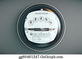 Electric-Meter - Analog Electricity Meter Showing Household Consumption. Power Meter Watt Energy Kwh