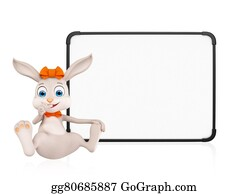 Cartoon-Farm-Animals-Card - Easter Bunny With Signboard