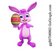 Cartoon-Farm-Animals-Card - Easter Bunny With Egg