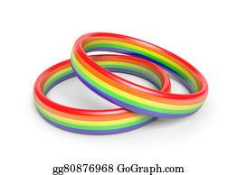 Same-Sex-Wedding - Two Wedding Rings With Rainbow Flag