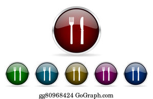 Dinner-Icons - Eat Colorful Glossy Circle Web Icons Set