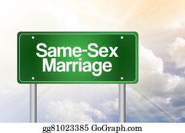 Same-Sex-Wedding - Same-Sex Marriage Green Road Sign Concept