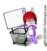 Cartoon-Farm-Animals-Card - Easter Bunny Character With Shopping Trolley