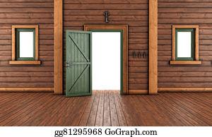 Front-Door - Empty  Entrance Room Of A Wooden Ho