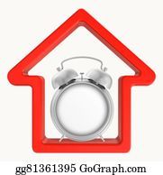 House-Alarm-Concept-Icon - Silhouette Of A Red House With An Alarm Clock In The Middle