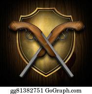 Antique-Pistols - Crossed Pistols On A Shield