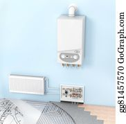 Conduction - The Concept Of Heating With Radiators And A Boiler . Underfloor Heating