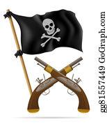 Antique-Pistols - Pirate Flag And Pistols Illustration