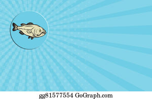 Largemouth-Bass - Business Card Largemouth Bass Fish Side Circle Cartoon