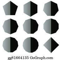 Heptagon - Polygon Black And White Shapes