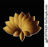 Golden-Lotus-Flower-Logo - Lotus Symbol Gold Flower Logo Art