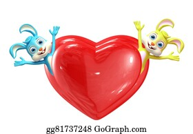 Cartoon-Farm-Animals-Card - Easter Bunny With Heart Pose