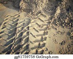 Tractor-Trailer - Wheel Tracks On The Soil.