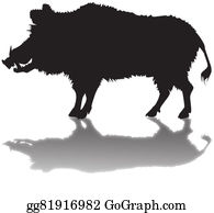 Boar - Silhouette Of A Wild Boar With A Sh