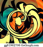 Odd-Shapes - Blue Orange Abstract Art. Curl.