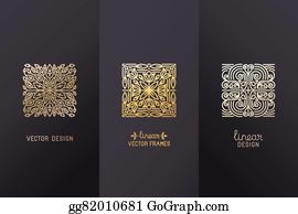 Golden-Lotus-Flower-Logo - Vector Set Of Linear Design Elements