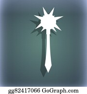 Crossbow - Mace Icon Symbol On The Blue-Green Abstract Background With Shadow And Space For Your Text.