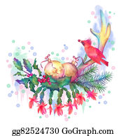 Cardinal-Bird - Merry Christmas Watercolor Drawing