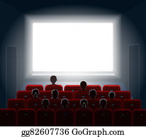 People-Watching-A-Movie - People Watching Movie At Cinema Hall. Film Screen, Show Or Concert. Illustration.