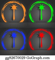 Crossbow - Mace Icon Symbol. Fashionable Modern Style. In The Orange, Green, Blue, Green Design.