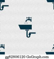 Nectarine - Washbasin Icon Sign. Seamless Pattern With Geometric Texture.