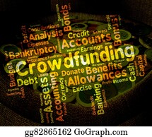 Fundraiser - Crowdfunding Word Indicates Raise Funds And Capital